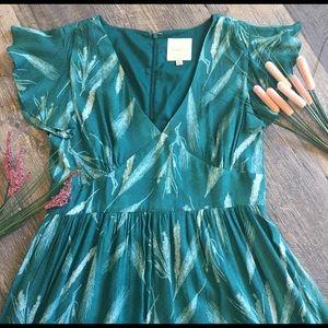 ModCloth V Neck A Line Grain Pattern Dress